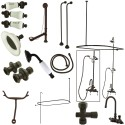 Kingston Brass CCK2145HCPL Vintage High Rise Gooseneck Clawfoot Tub & Shower Package w/ Porcelain Lever Handles, Oil Rubbed Bronze