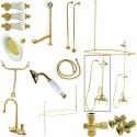 Kingston Brass CCK214 Vintage High Rise Gooseneck Clawfoot Tub & Shower Package w/ Porcelain Lever Handles