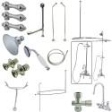 Kingston Brass CCK218 Vintage High Rise Gooseneck Clawfoot Tub & Shower Package w/ Porcelain Lever Handles