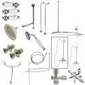 Kingston Brass CCK3141HCPL Vintage Wall Mount Down Spout Clawfoot Tub & Shower Package w/ Porcelain Lever Handles, Polished Brass
