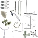 Kingston Brass CCK3141PL Vintage Wall Mount Down Spout Clawfoot Tub & Shower Package w/ Porcelain Lever Handles, Polished Chrome
