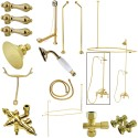 Kingston Brass CCK318 Vintage Wall Mount Down Spout Clawfoot Tub & Shower Package w/ Metal Lever Handles