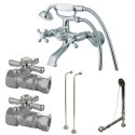 Kingston Brass CCK265 Vintage Wall Mount Clawfoot Tub Faucet Package