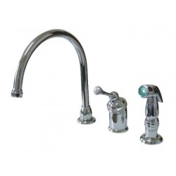 Kingston Brass KB3811BLSP Buckingham Single Kitchen Faucet w/ Chrome Sprayer