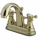 "Kingston Brass KS761 English Vintage Two Handle 4"" Centerset Lavatory Faucet w/ Brass Pop-up & BX cross handles"