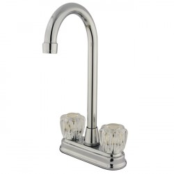 Kingston Brass GKB491AC Water Saving Magellan Bar Faucet w/ Acrylic Handles, Chrome