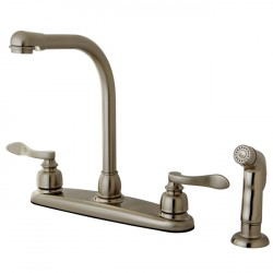 "Kingston Brass KB875 NuWave French 8"" Centerset High Arch Kitchen Faucet w/ Twin Lever Handle & Matching Sprayer"