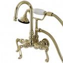 Kingston Brass AE Aqua Eden Royale Wall Mount Clawfoot Tub Faucet w/ FL lever handles