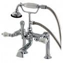 Kingston Brass AE10 Aqua Eden Vintage Deck Mount Clawfoot Tub Faucet w/ porcelain lever handles