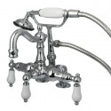 "Kingston Brass CC1016T1 Vintage 3-3/8"" Deck Mount Clawfoot Tub Filler w/ Hand & Shower Porcelain Lever"