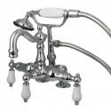 "Kingston Brass CC1016T1 Vintage 3-3/8"" Deck Mount Clawfoot Tub Filler w/ Hand & Shower Porcelain Lever"