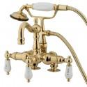"Kingston Brass CC10 Vintage 3-3/8"" Deck Mount Clawfoot Tub Filler w/ Hand & Shower H&C Porcelain Lever"