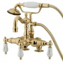 "Kingston Brass CC10 Vintage 3-3/8"" Deck Mount Clawfoot Tub Filler w/ Hand & Shower H&C Porcelain Lever"