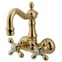 "Kingston Brass CC107 Vintage 3-3/8"" Wall Mount Clawfoot Tub Filler w/ metal cross handles"