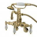 "Kingston Brass CC130 Vintage 3-3/8"" - 9"" Adjustable Center Wall Mount Clawfoot Tub Filler w/ H&C Porcelain lever"