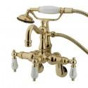 "Kingston Brass CC130 Vintage 3-3/8"" - 9"" Adjustable Center Wall Mount Clawfoot Tub Filler w/ H&C Porcelain lever"
