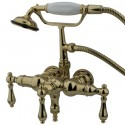 "Kingston Brass CC Vintage 3-3/8"" Deck Mount Clawfoot Tub Filler w/ Hand & Shower w/ metal levers"