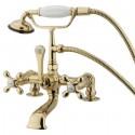 "Kingston Brass CC2 Vintage 7"" Deck Mount Clawfoot Tub Filler w/ metal cross"