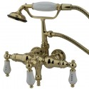 "Kingston Brass CC2 Vintage 3-3/8"" Wall Mount Clawfoot Tub Filler w/ H&C Porcelain Levers"