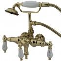 "Kingston Brass CC2 Vintage 3-3/8"" Wall Mount Clawfoot Tub Filler w/ H&C Porcelain Levers"