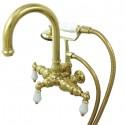 "Kingston Brass CC301 Vintage 3-3/8"" Wall Mount Clawfoot Tub Filler w/ Porcelain Lever"