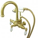 "Kingston Brass CC301 Vintage 3-3/8"" Wall Mount Clawfoot Tub Filler w/ Porcelain Lever"