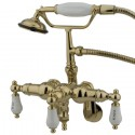 "Kingston Brass CC42 Vintage Adjustable 3-3/8"" - 10"" Center Wall Mount Clawfoot Tub Filler w/ H&C Porcelain levers"