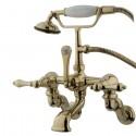 "Kingston Brass CC45 Vintage Adjustable 3-3/8"" - 10"" Center Wall Mount Clawfoot Tub Filler w/ metal lever"