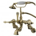 "Kingston Brass CC45 Vintage Adjustable 3-3/8"" - 10"" Center Wall Mount Clawfoot Tub Filler w/ metal lever"
