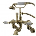 "Kingston Brass CC46 Vintage Adjustable 3-3/8"" - 10"" Center Wall Mount Clawfoot Tub Filler w/ H&C Porcelain Lever"