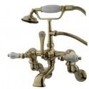 "Kingston Brass CC46 Vintage Adjustable 3-3/8"" - 10"" Center Wall Mount Clawfoot Tub Filler w/ H&C Porcelain Lever"