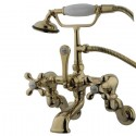 "Kingston Brass CC46 Vintage Adjustable 3-3/8"" - 10"" Center Wall Mount Clawfoot Tub Filler w/ metal cross"