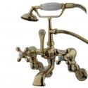 "Kingston Brass CC46 Vintage Adjustable 3-3/8"" - 10"" Center Wall Mount Clawfoot Tub Filler w/ metal cross"