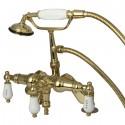 Kingston Brass CC62 Vintage Deck Mount Clawfoot Tub Filler w/ H&C Porcelain Lever