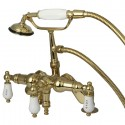 Kingston Brass CC62 Vintage Deck Mount Clawfoot Tub Filler w/ H&C Porcelain Lever