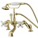Kingston Brass CC6 Vintage Deck Mount Clawfoot Tub Filler w/ porcelain cross