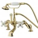Kingston Brass CC6 Vintage Deck Mount Clawfoot Tub Filler w/ porcelain cross