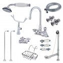 Kingston Brass CCK10T1SS-SB Vintage Wall Mount Gooseneck Clawfoot Tub Filler w/ Shower Mixer Kit in Polished Chrome