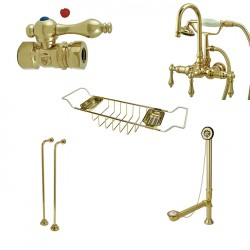 Kingston Brass CCK7T2SS-TC Vintage Gooseneck Tub Mount Clawfoot Tub Filler with Shower Mixer Package in Polished Brass