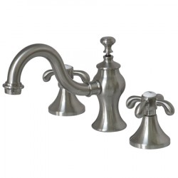 "Kingston Brass GKS7168TX Water Saving French Country 8"" Widespread Lavatory Faucet w/ Brass Pop-Up, Satin Nickel"