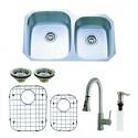 Kingston Brass KZGKUD3221F Gourmetier Undermount Double Bowl Kitchen Sink & Faucet Combo w/ Strainer, Grid & Soap Dispenser