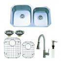 Kingston Brass KZGKUD3221F Gourmetier Undermount Double Bowl Kitchen Sink & Faucet Combo w/ Strainer, Grid & Soap Dispenser