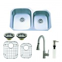 Kingston Brass KZGKUD3221PF Gourmetier Undermount Double Bowl Kitchen Sink & Faucet Combo w/ Strainer, Grid & Soap Dispenser