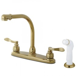 "Kingston Brass KB875 NuWave French 8"" Centerset High Arch Kitchen Faucet w/ Twin Lever Handle & White Sprayer"