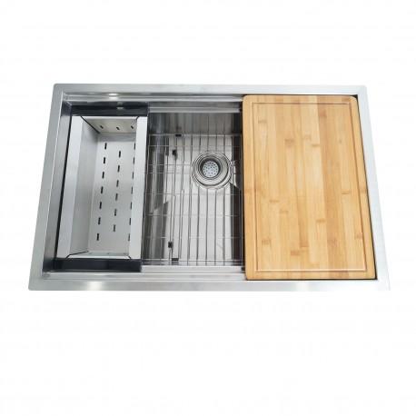BOANN URD3220 Single Basin Stainless Steel Under mount Kitchen Sink w/sliding Cutting board & Colander