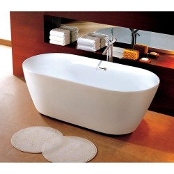 Dyconn DYF-WTM-02701-R Como 66.5 in. Acrylic Oval Slipper Flatbottom Non-Whirlpool Bathtub in White