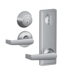 Schlage JI18/19 Marin Lever Interconnect Passage Lock with Keyed Deadbolt - Satin Stainless Steel