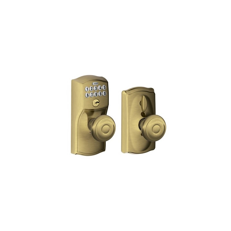 Schlage Camelot Keypad Entry Lock With Georgian Knob And
