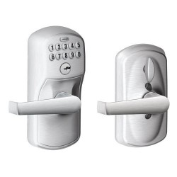Schlage Plymouth Keypad Entry Lock with Elan Lever and Flex Lock (Satin Chrome)