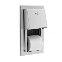 AJW Commercial Washroom Accessories U841 Recessed Hooded Steel Dual Toilet Tissue Paper Dispenser